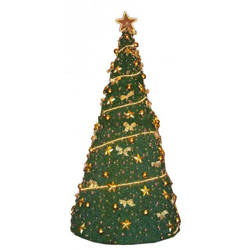 Conical tree green or white fully decorated